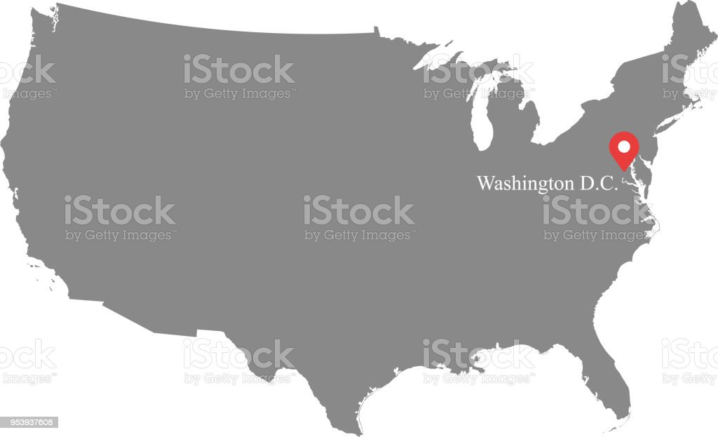 Usa Map Vector Outline Illustration With Capital Location Washington ...