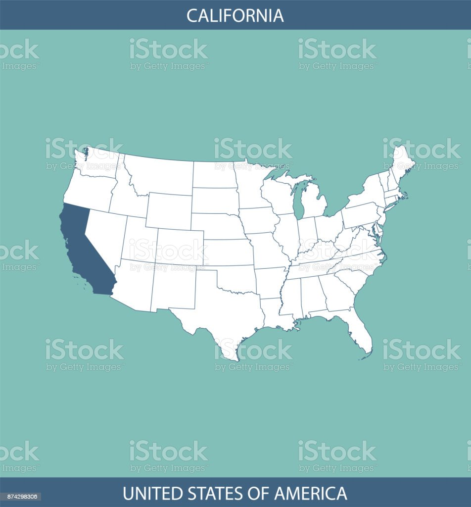 Map Of California Usa.Usa Map Vector Outline Illustration With Highlighted State Of