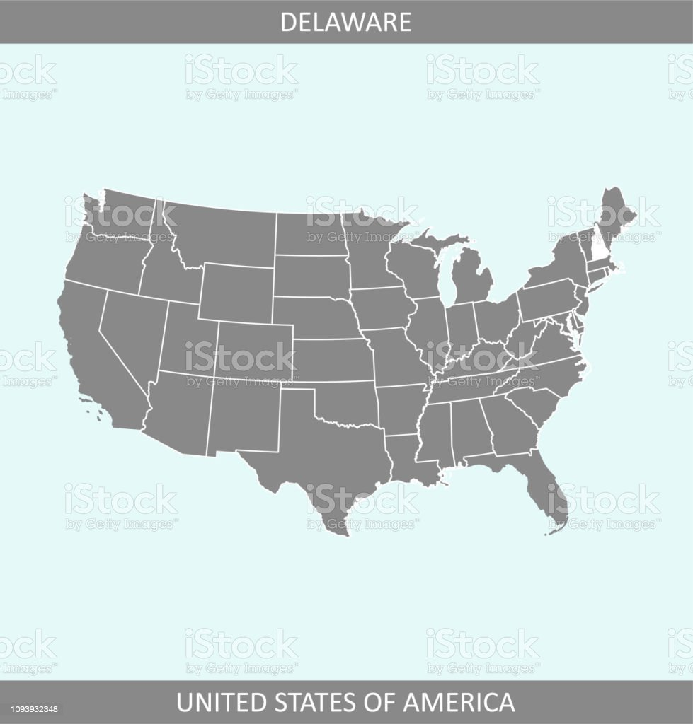 Usa Map Vector Outline Illustration With Highlighted State Of ... Delaware On Us Map on