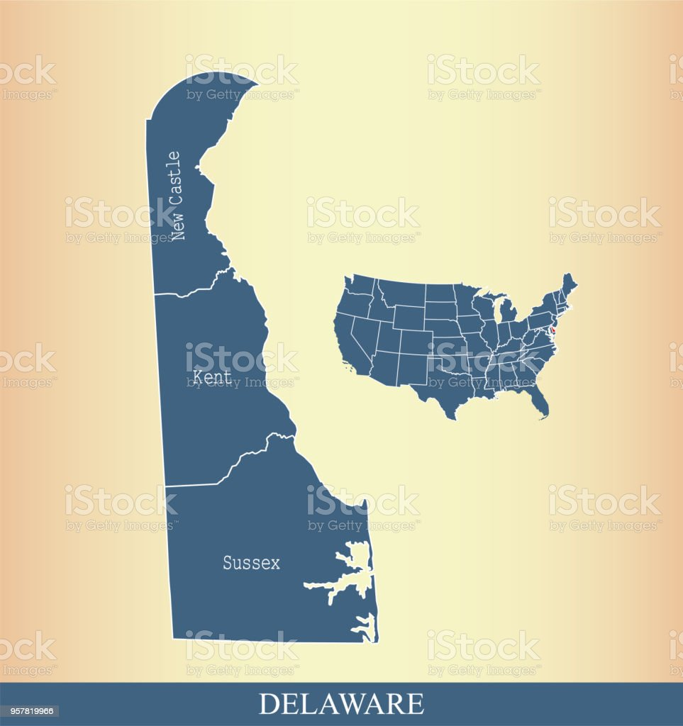 Usa Map Vector Outline Illustration With Highlighted State Of ...