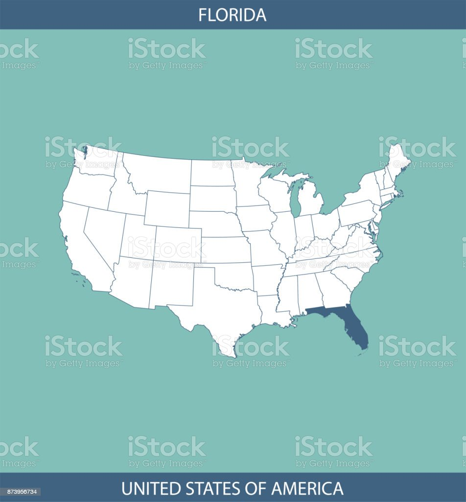 Florida In Usa Map.Usa Map Vector Outline Illustration With Highlighted State Of
