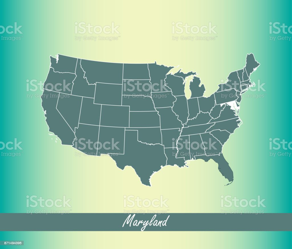 Blue Usa Map.Usa Map Vector Outline Illustration With Highlighted State Of