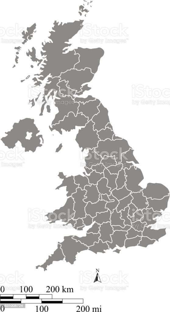 UK map vector outline illustration with mileage and kilometer scales and states or counties borders vector art illustration
