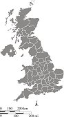 UK map vector outline illustration with mileage and kilometer scales and states or counties borders