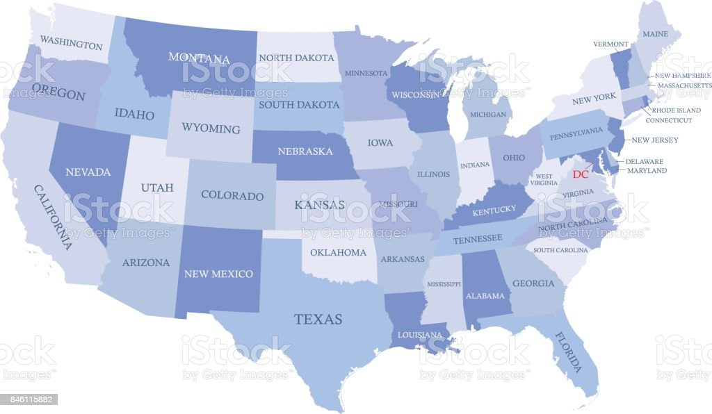 Usa Map Vector Outline Illustration With States Names In Blue - Us map and state names