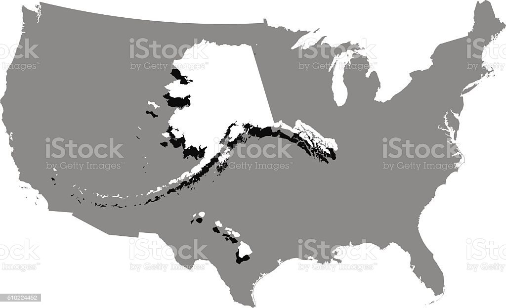 Usa Map Vector Outline In A Creative 3d Design stock vector art