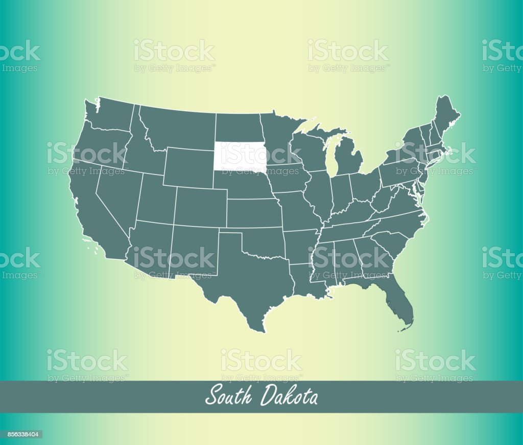 Usa Map Vector Outline With Highlighted States Of South Dakota In