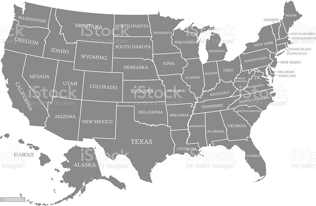 USA map vector outline with states names in gray background vector art illustration