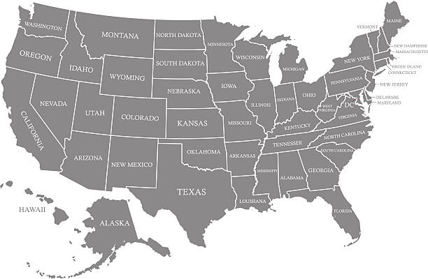 USA map vector outline with states names in gray background Ouline vector map of United States with states borders and names in gray color background, and capital location and name, Washington, D.C. eastern usa stock illustrations