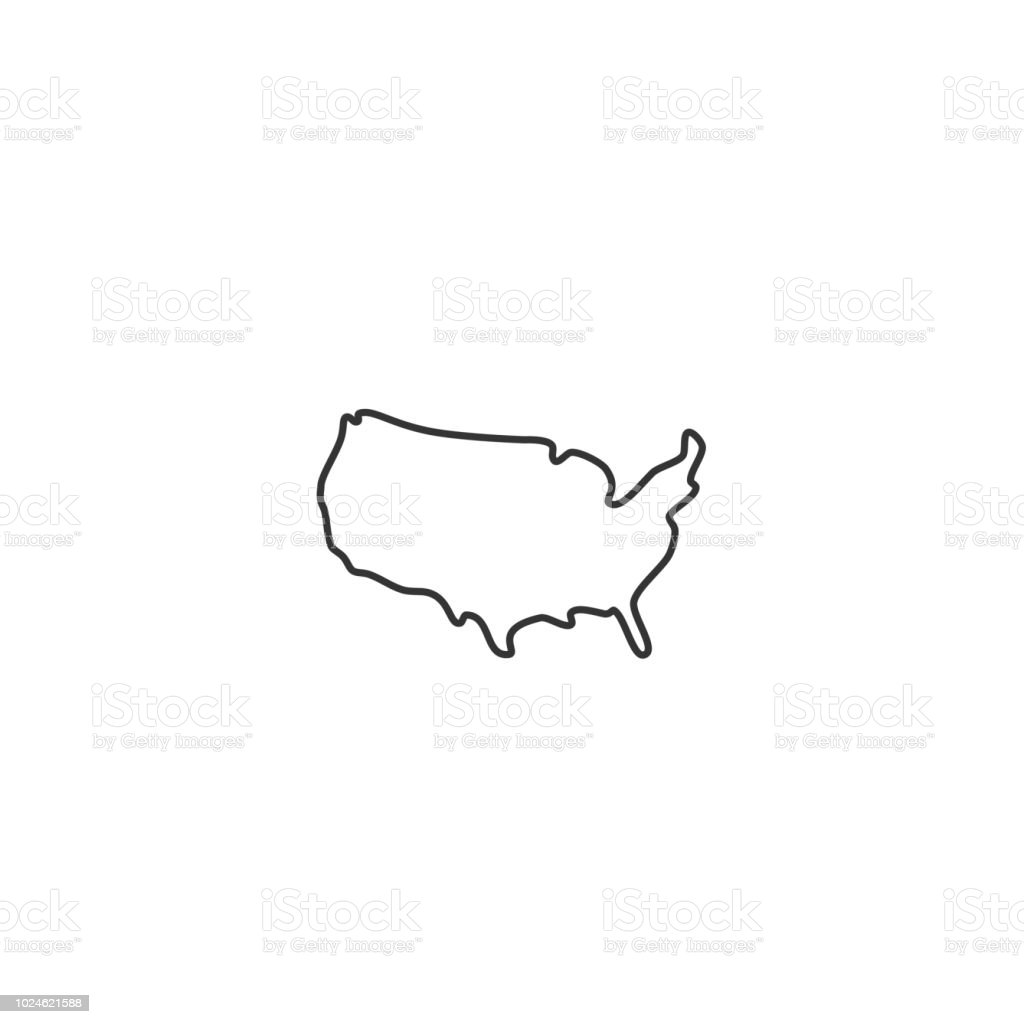 USA map - vector thin line icon USA map - vector thin line icon Abstract stock vector