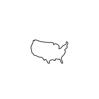 Usa Map Vector Thin Line Icon Stock Illustration - Download Image Now