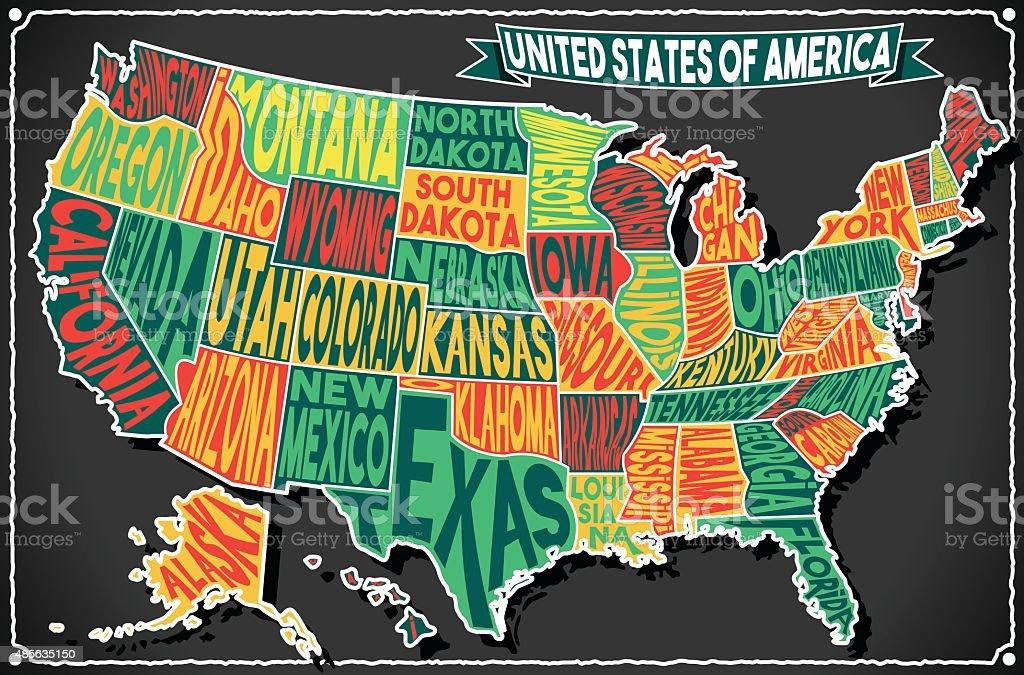 USA Karte Vintage Tafel 2 Doppelbetten – Vektorgrafik