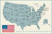 USA Map. Vintage Vector Illustration