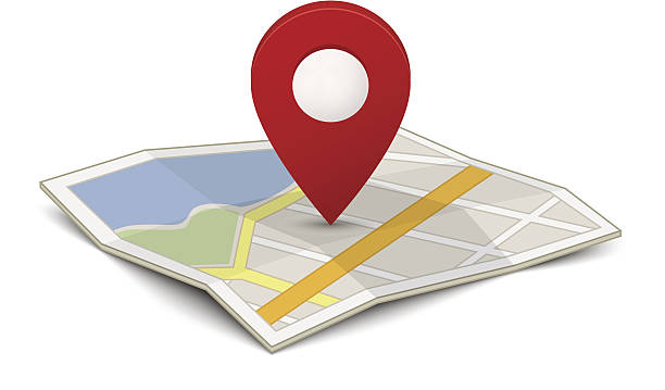 Map with a pin Map with a pin isolated on white international landmark stock illustrations