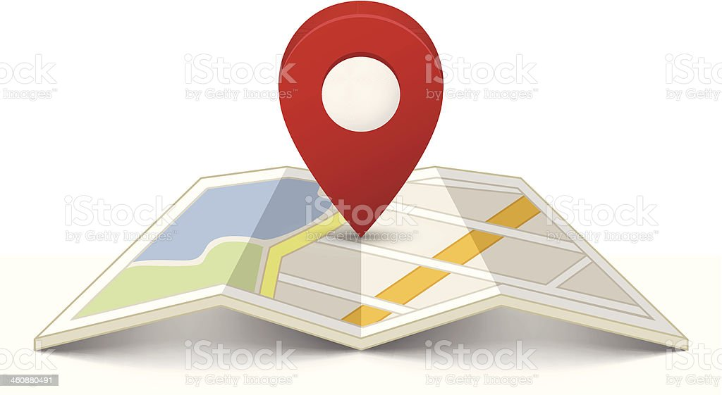Map with a pin royalty-free map with a pin stock illustration - download image now