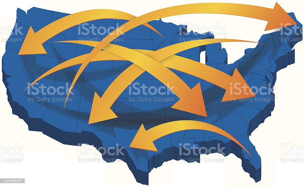 USA 3D Map with Arrows vector art illustration