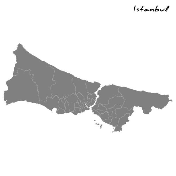 карта с границами регионов. - стамбул stock illustrations