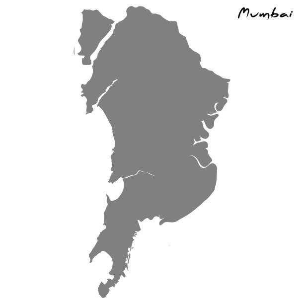 stockillustraties, clipart, cartoons en iconen met kaart met de grenzen van de regio's. - mumbai
