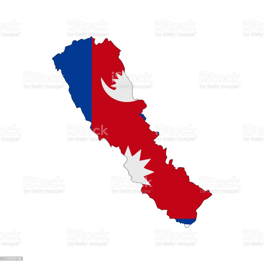 Map With Color Flag Of Nepal Stock Illustration - Download ...