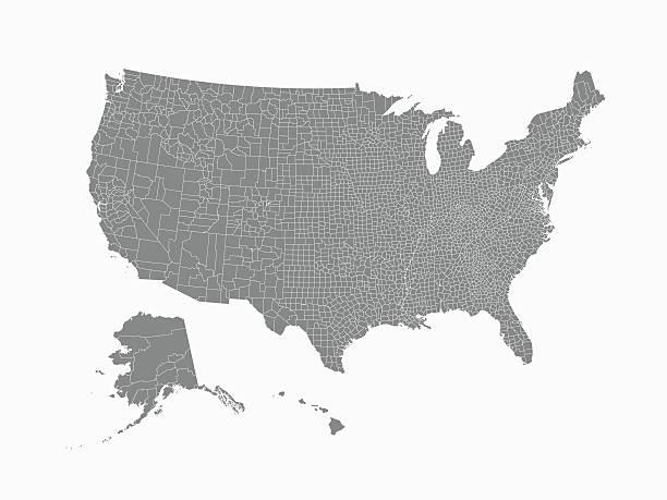 ilustraciones, imágenes clip art, dibujos animados e iconos de stock de estados unidos mapa con las fronteras del condado - zona urbana