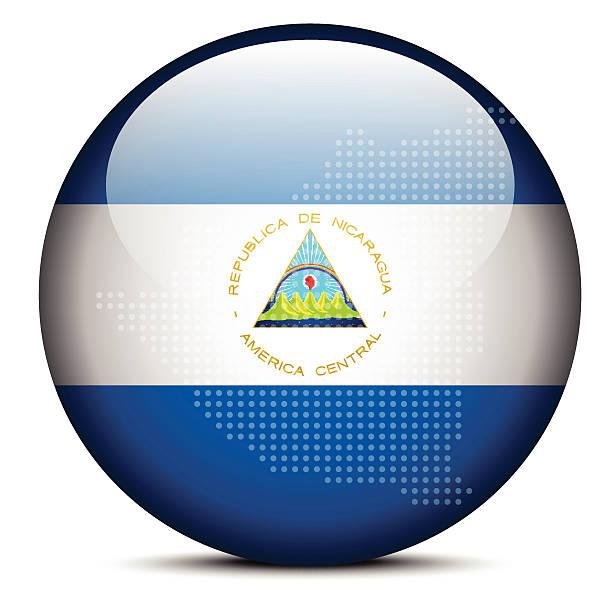 karte mit punktmuster auf die schaltfläche-flagge der republik nicaragua - managua stock-grafiken, -clipart, -cartoons und -symbole