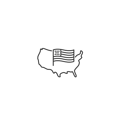 USA map with flag - vector thin line icon