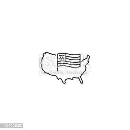 istock USA map with flag - vector thin line icon 1010501060