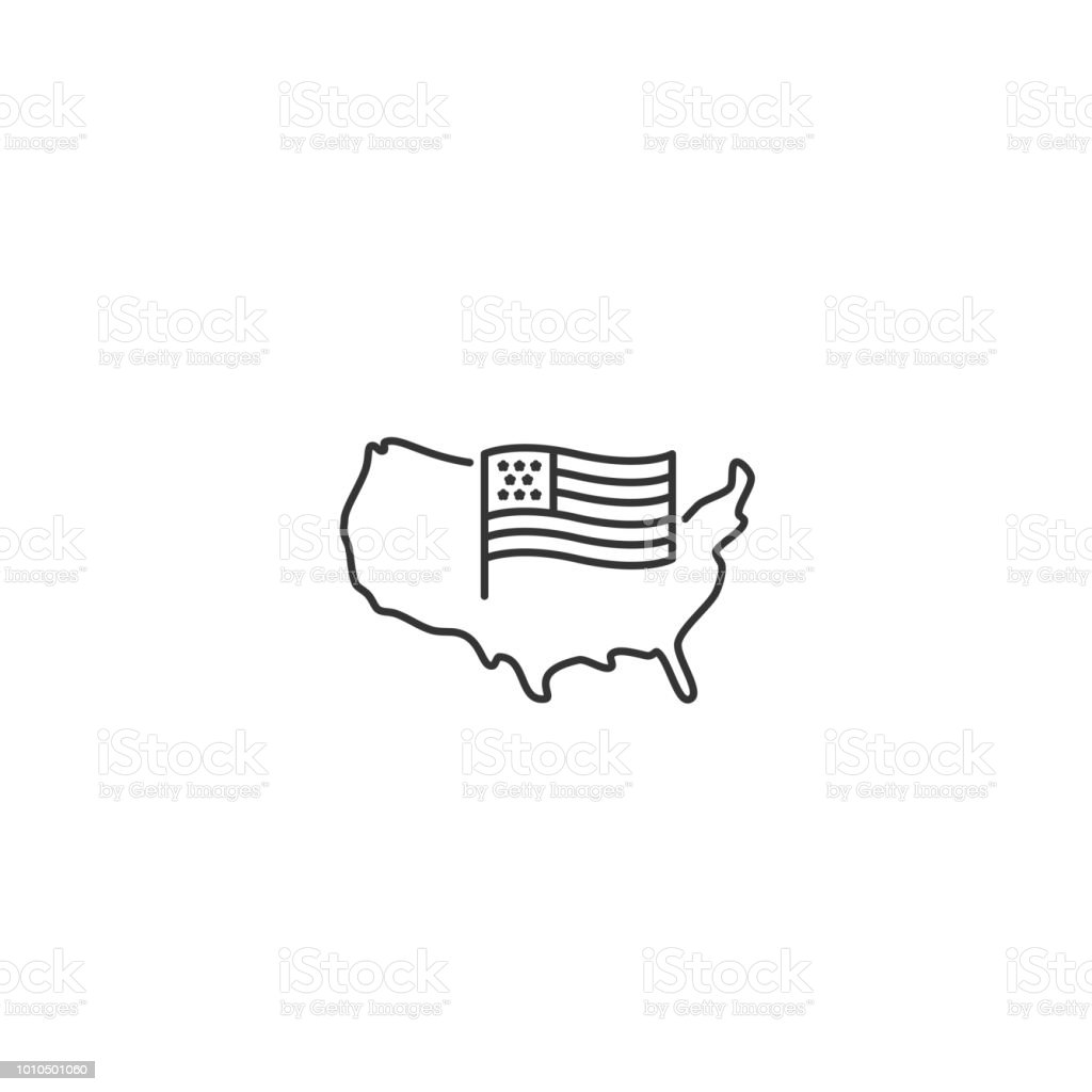 USA-Karte mit Fahne - Vektor dünne Linie icon – Vektorgrafik