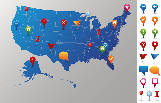 USA Map with GPS Icons.