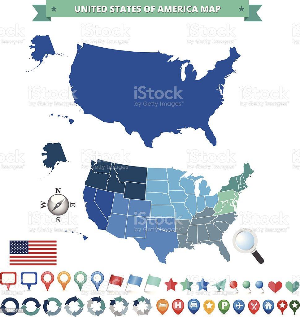 Carte Gps Amerique Du Nord.Usa Carte Avec Les Icones De Gps Cliparts Vectoriels Et Plus D