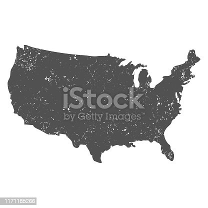 USA map with grunge effect on white background