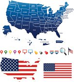 USA map with its territories and GPS icons
