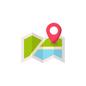 Map with Locator Flat Icon.