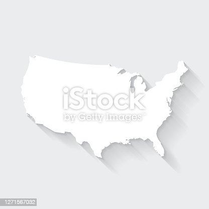 istock USA map with long shadow on blank background - Flat Design 1271567032