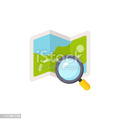 Map with Magnifying Glass Flat Icon.