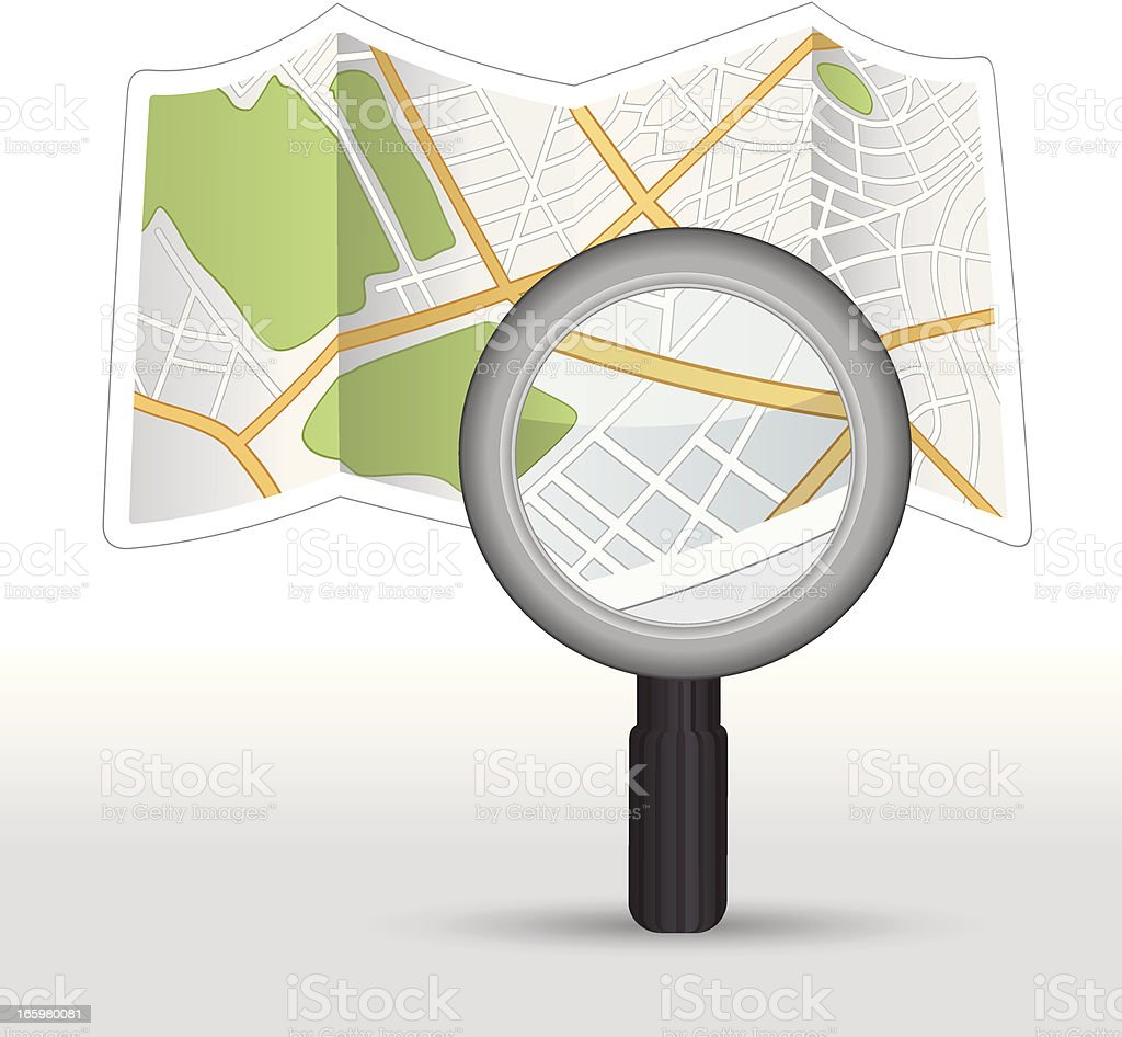 map with magnifying glass over it vector art illustration