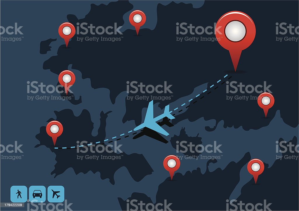 Map with Navigation and Airplane Icons royalty-free stock vector art