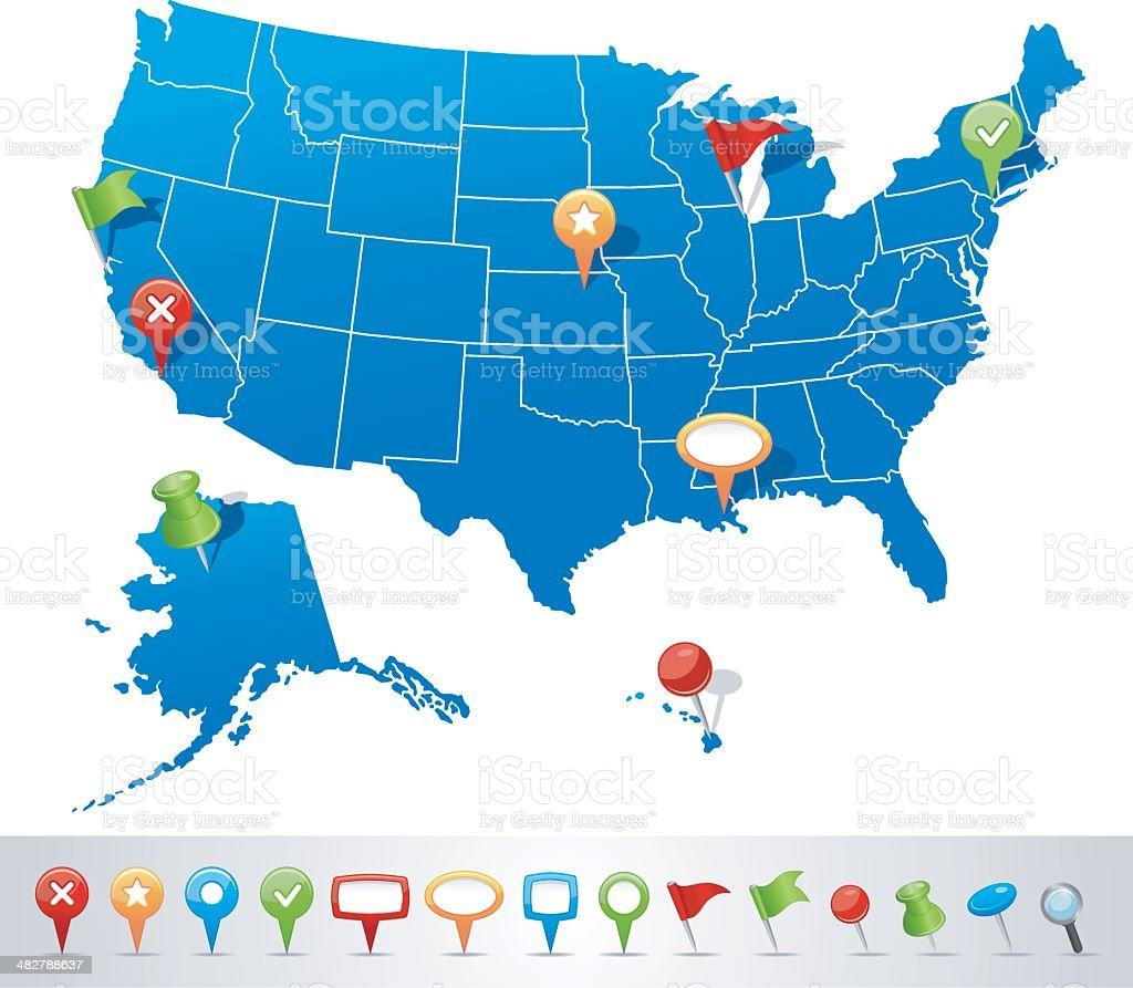 USA map with navigation icons vector art illustration