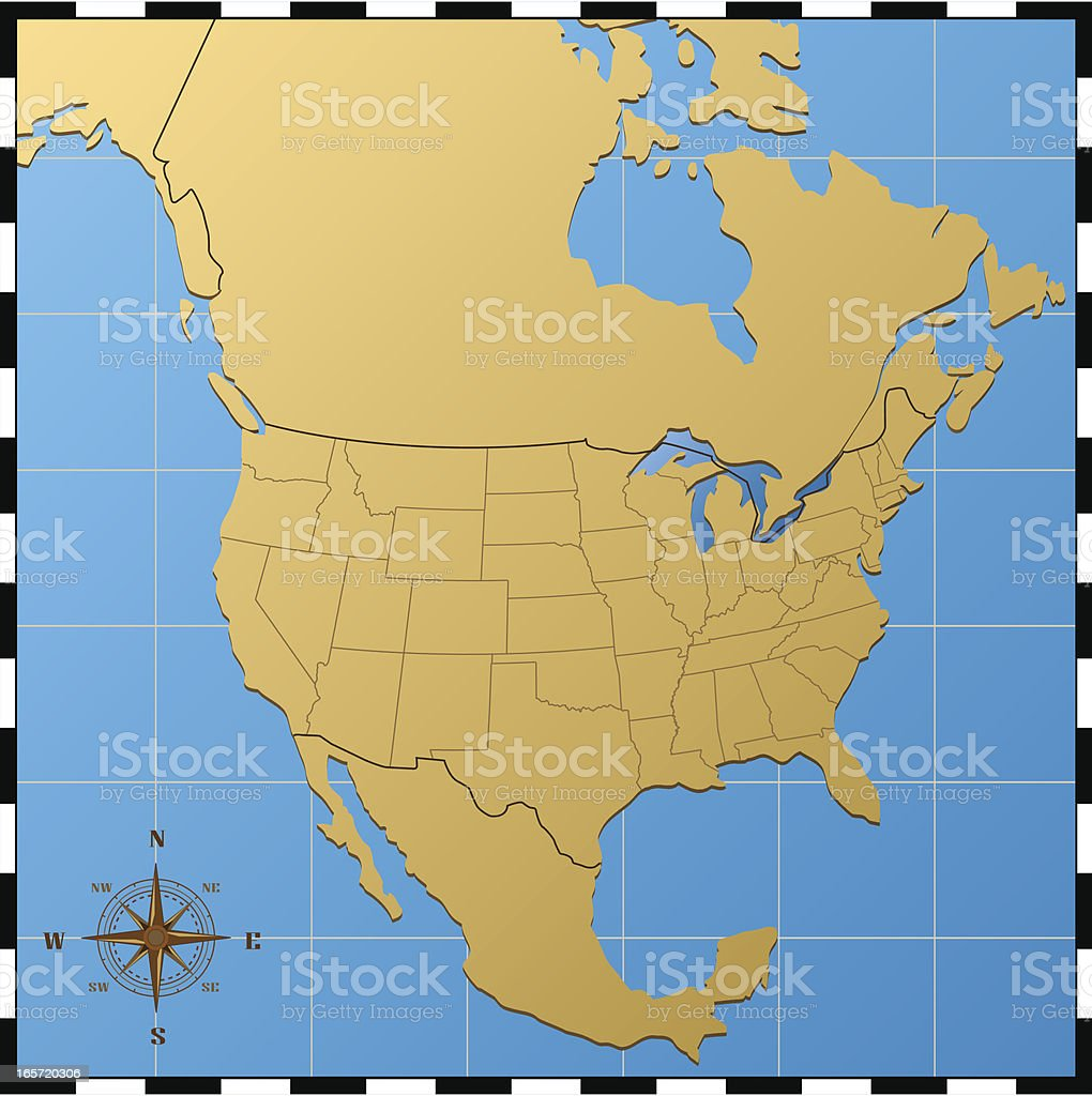 USA Map with North America royalty-free stock vector art