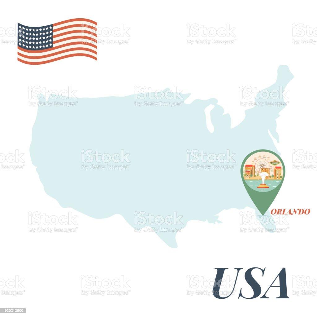 usa map with orlando pin travel concept stock vector art more