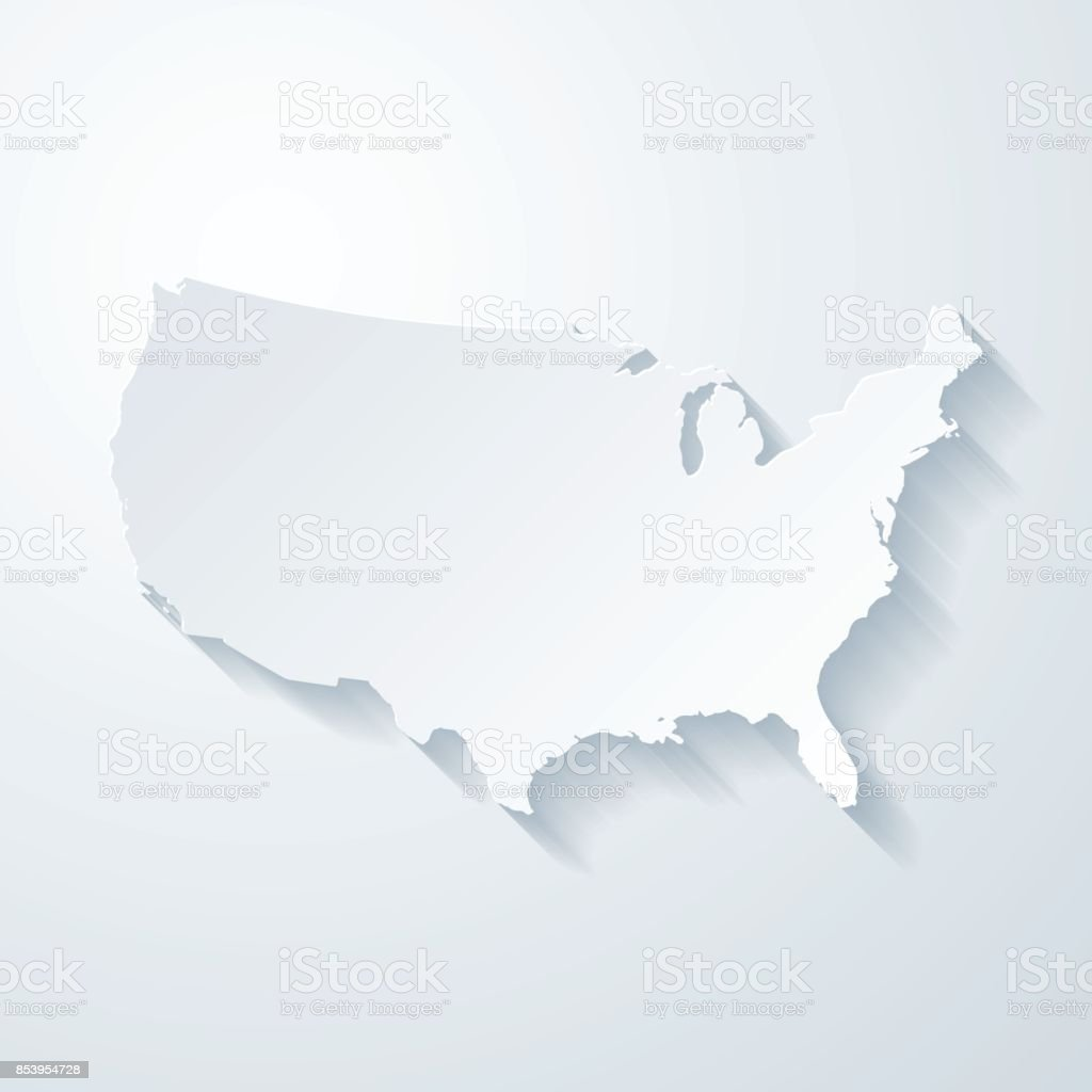 USA map with paper cut effect on blank background vector art illustration