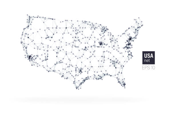 USA-Karte mit Partikelverbindung – Vektorgrafik