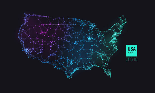 USA map with particles connection vector art illustration