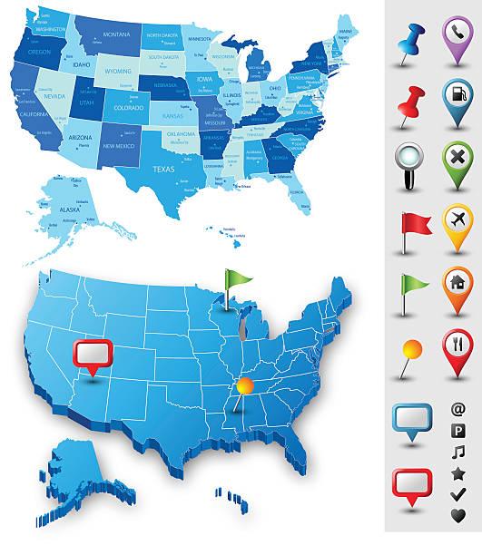 stockillustraties, clipart, cartoons en iconen met usa map with pins - highly detailed - arizona highway signs