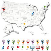 Vector USA map with pins. Download includes high resolution jpeg. All elements are separated in editable layers.