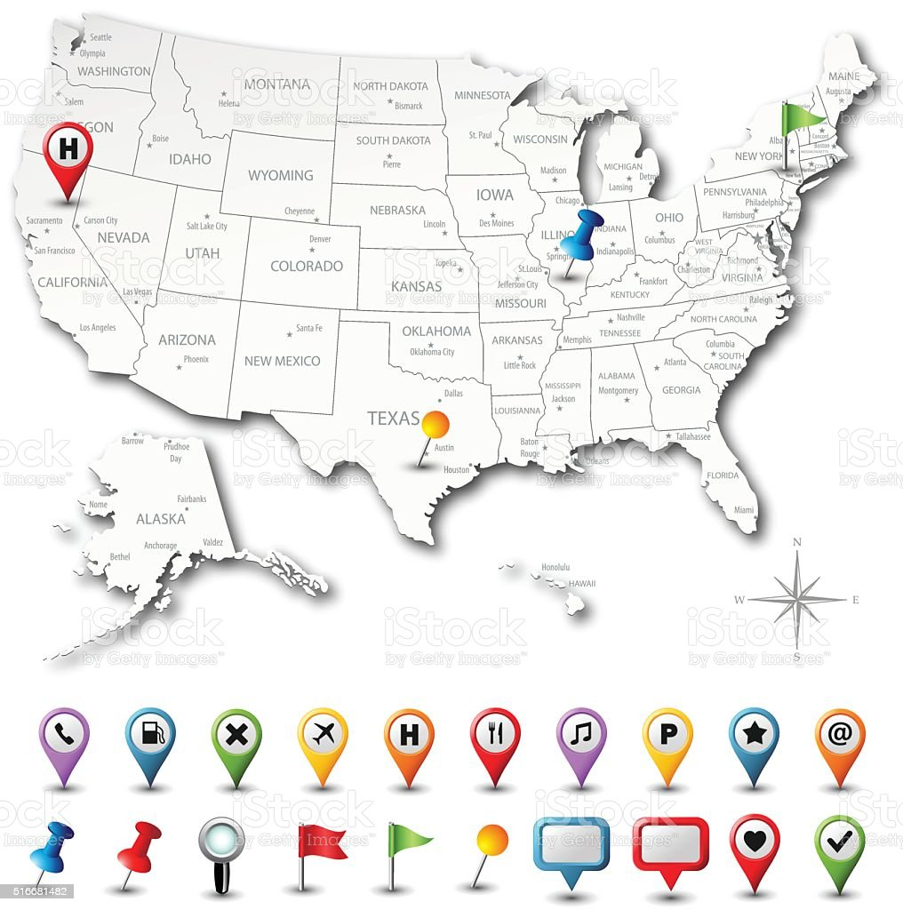 USA Map With Pins - Highly Detailed vector art illustration
