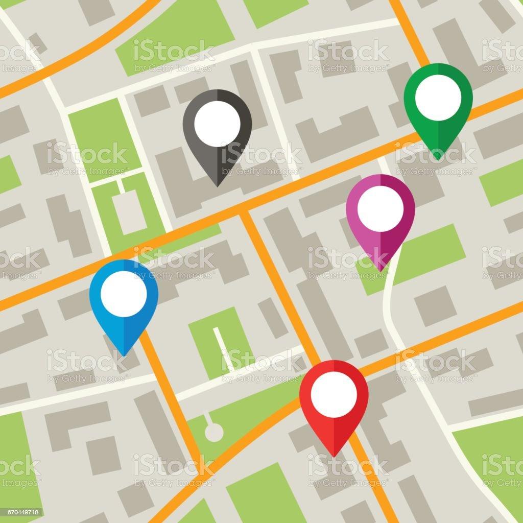 Mapa com os pinos - Vetor de Banner web royalty-free