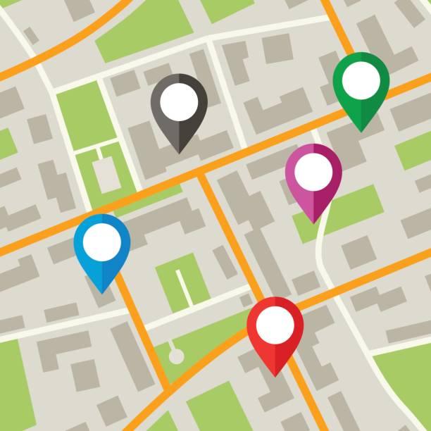 Pinos e marcadores de mapas