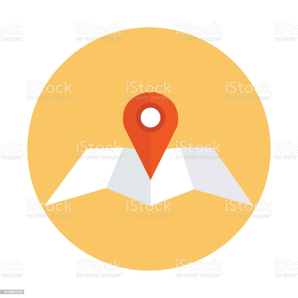 Map with pointer vector art illustration