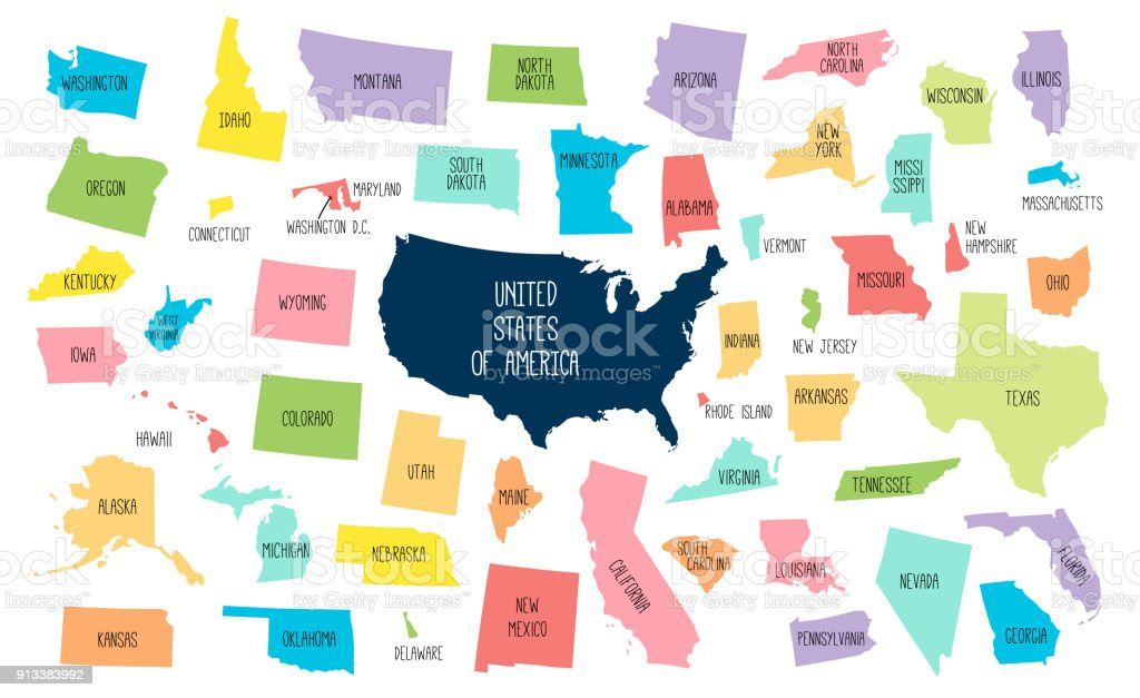 Usa Map With Separated States Stock Vector Art More Images Of - Us-map-separated-by-region